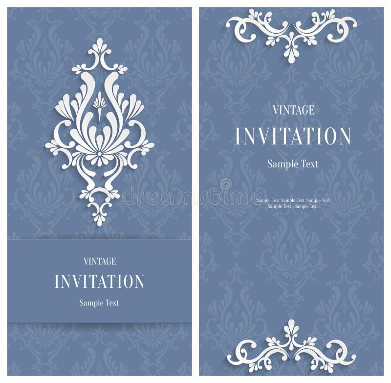 传染媒介灰色花卉3d背景 婚姻或邀请卡片的模板 库存例证