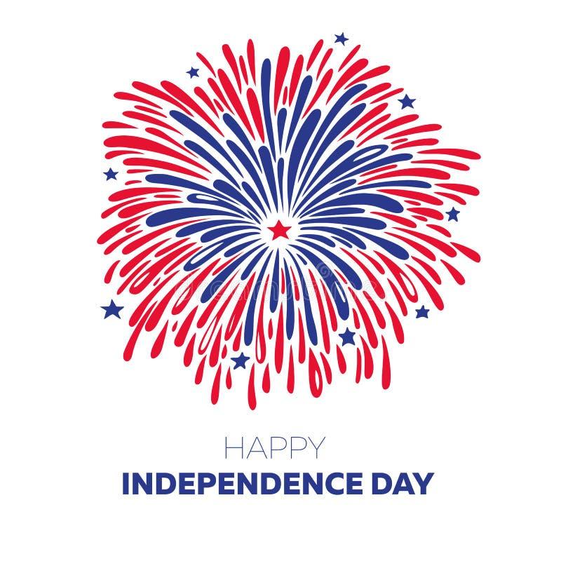 传染媒介烟花为7月第4 美国人美国独立日例证 库存例证