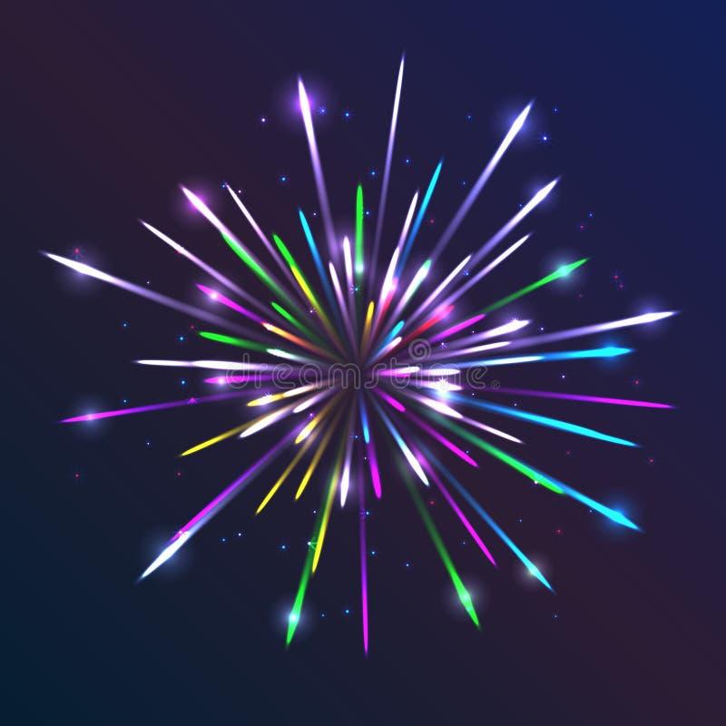 传染媒介烟花 与明亮的线和微粒发光的光线影响创造性的模板的抽象背景与火花 皇族释放例证