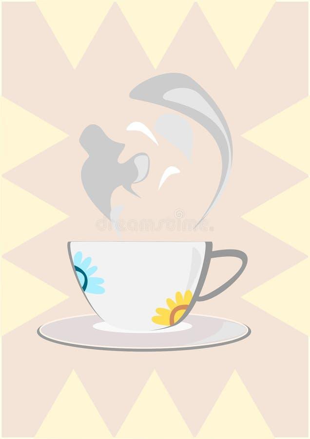 传染媒介热奶咖啡咖啡杯 免版税库存照片
