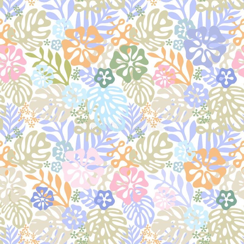 传染媒介热带花木套鞋 与gorgeus植物的元素,木槿,棕榈,天堂鸟的无缝的设计 皇族释放例证