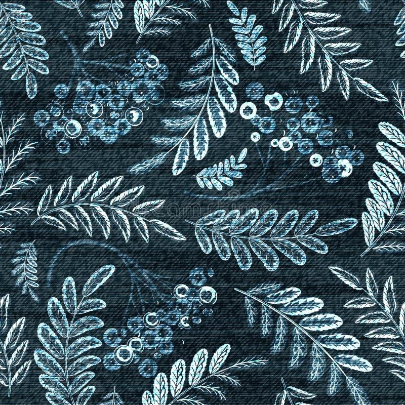 传染媒介牛仔布花卉无缝的样式 与罗斯花的牛仔裤背景 蓝色布料 向量例证