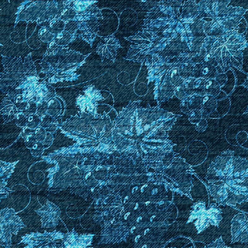 传染媒介牛仔布花卉无缝的样式 与罗斯花的牛仔裤背景 蓝色布料 皇族释放例证