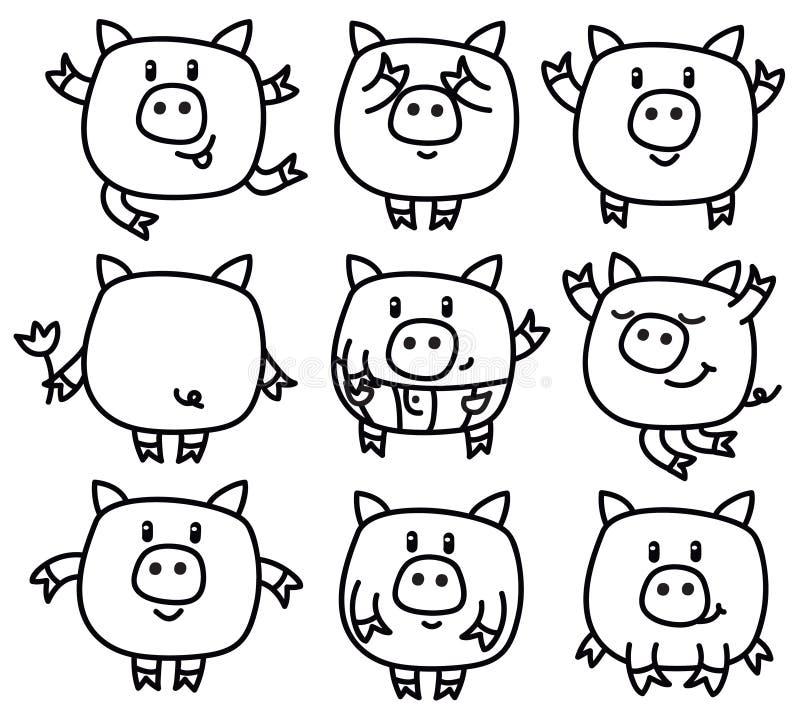 传染媒介猪动画片 向量例证