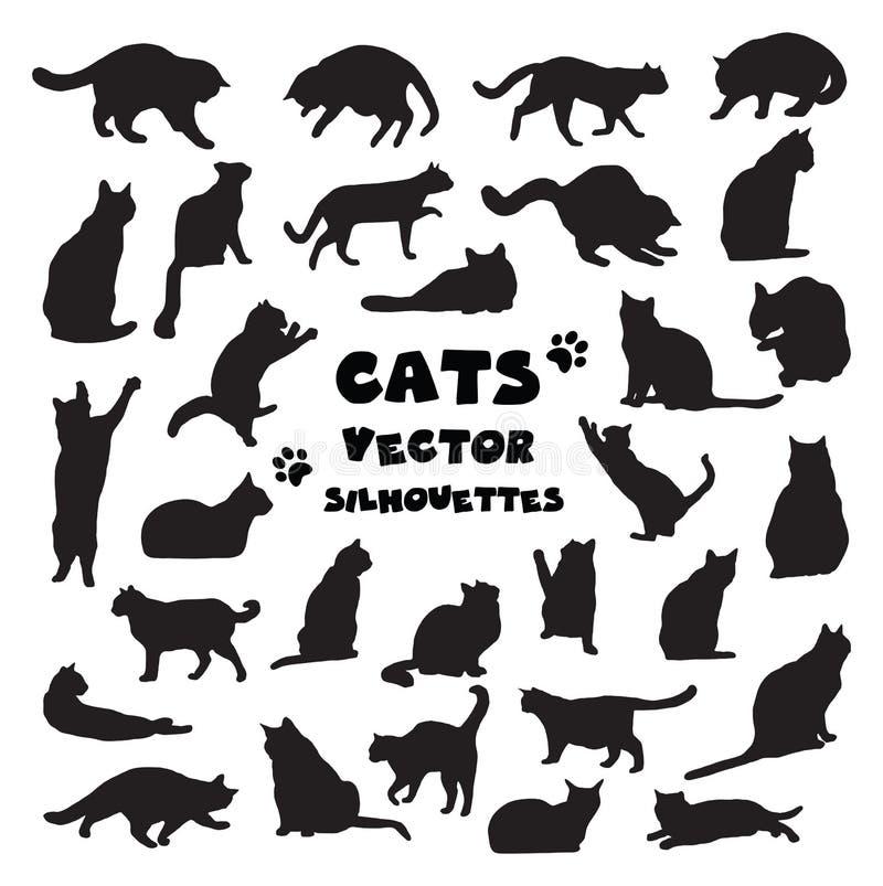 传染媒介猫剪影的汇集 皇族释放例证