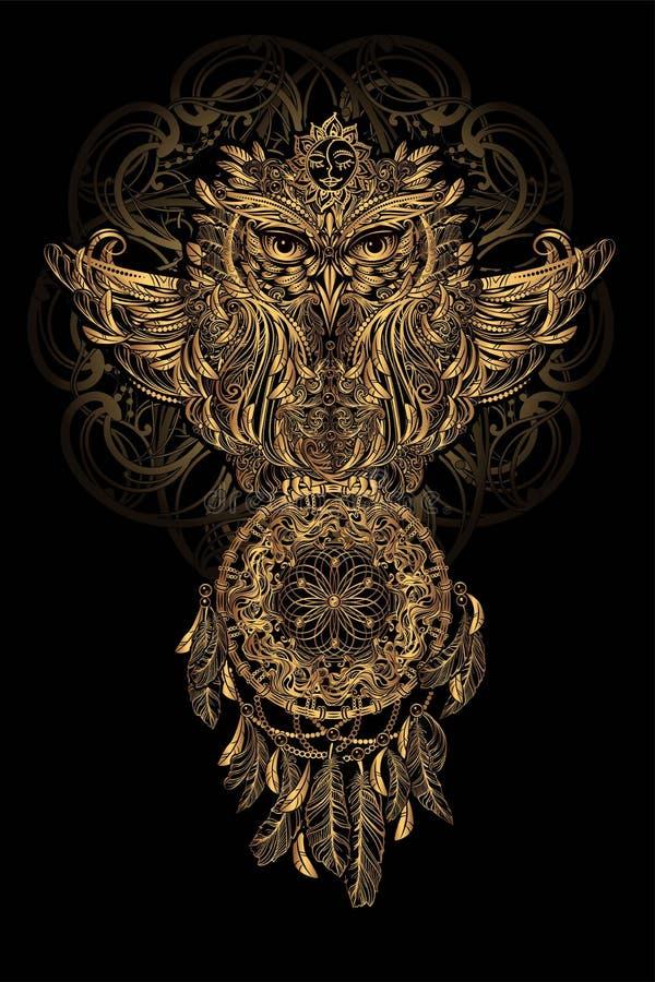 传染媒介猫头鹰纹身花刺 向量例证