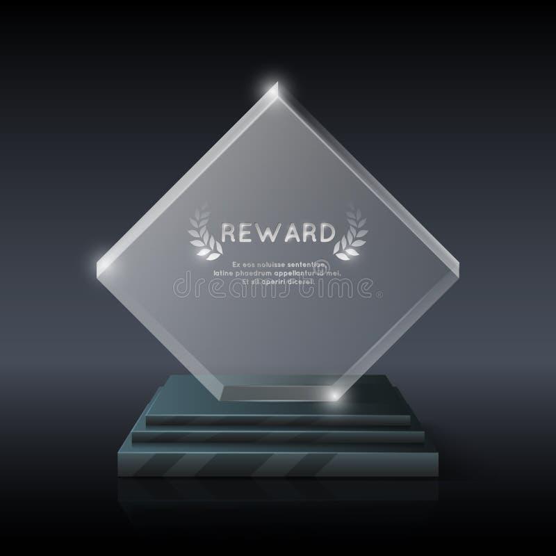 传染媒介现实水晶玻璃战利品奖 向量例证