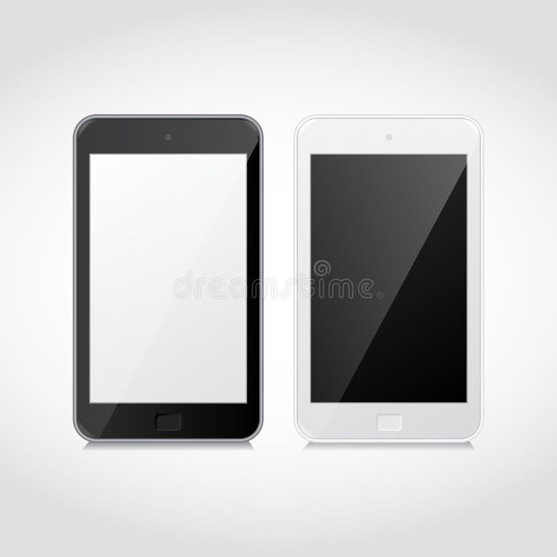 传染媒介现实黑白巧妙的电话 库存例证