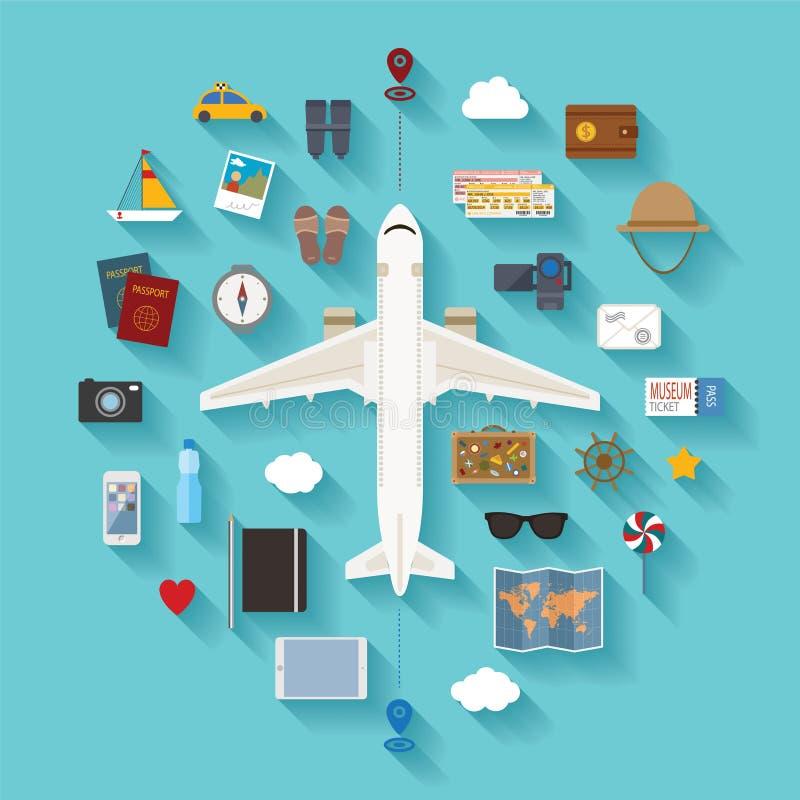 传染媒介现代平的样式象为旅游业设置了 库存例证