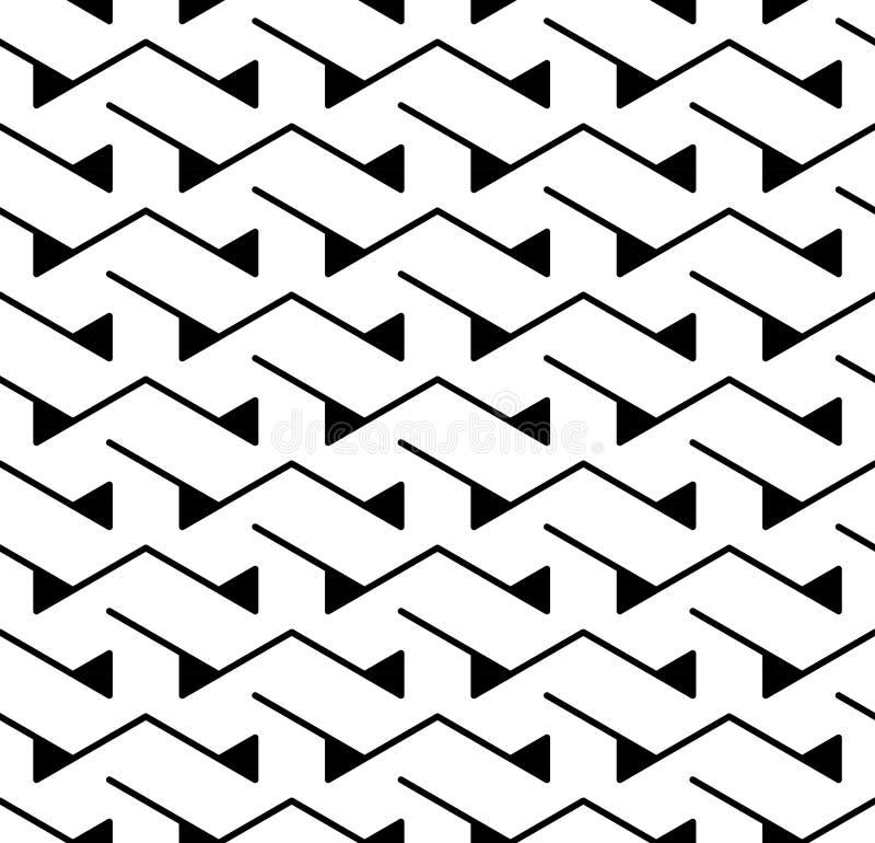 传染媒介现代抽象几何三角样式 黑白无缝的几何背景 库存例证