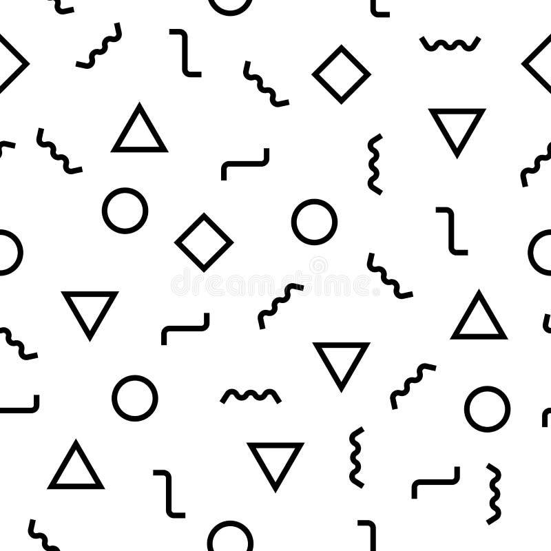 传染媒介现代抽象几何孟菲斯样式 黑白无缝的几何背景 向量例证