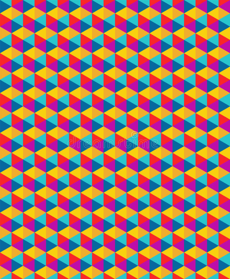 传染媒介现代无缝的五颜六色的几何三角样式 皇族释放例证