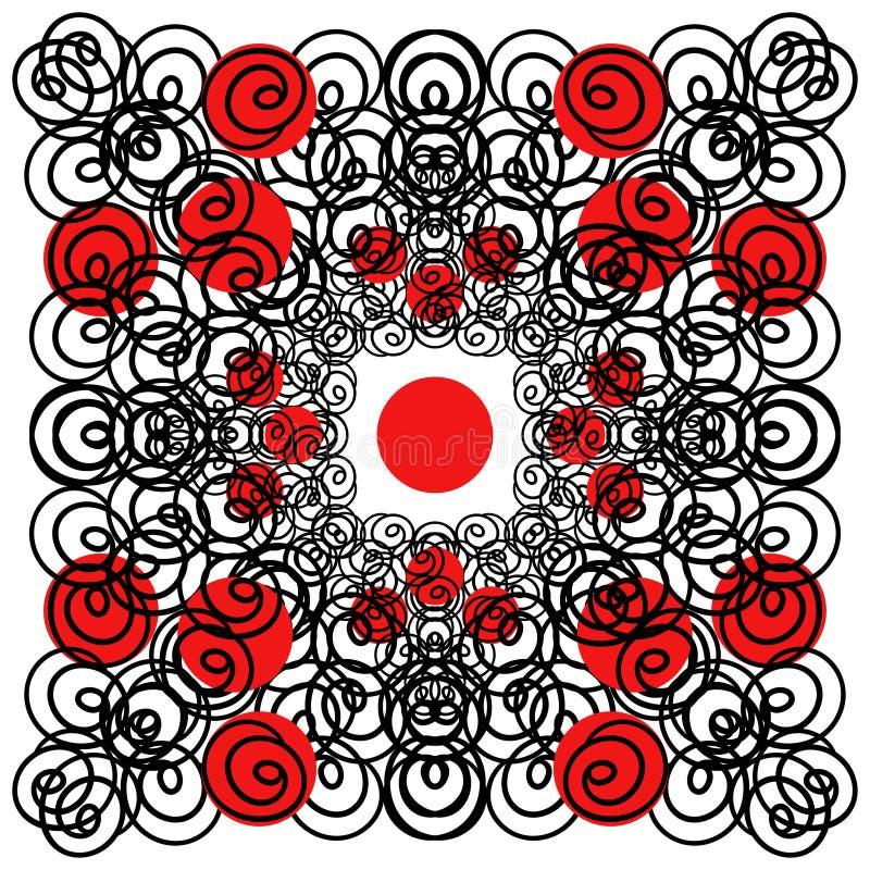 传染媒介现代设计 卷毛和红色圈子 库存例证