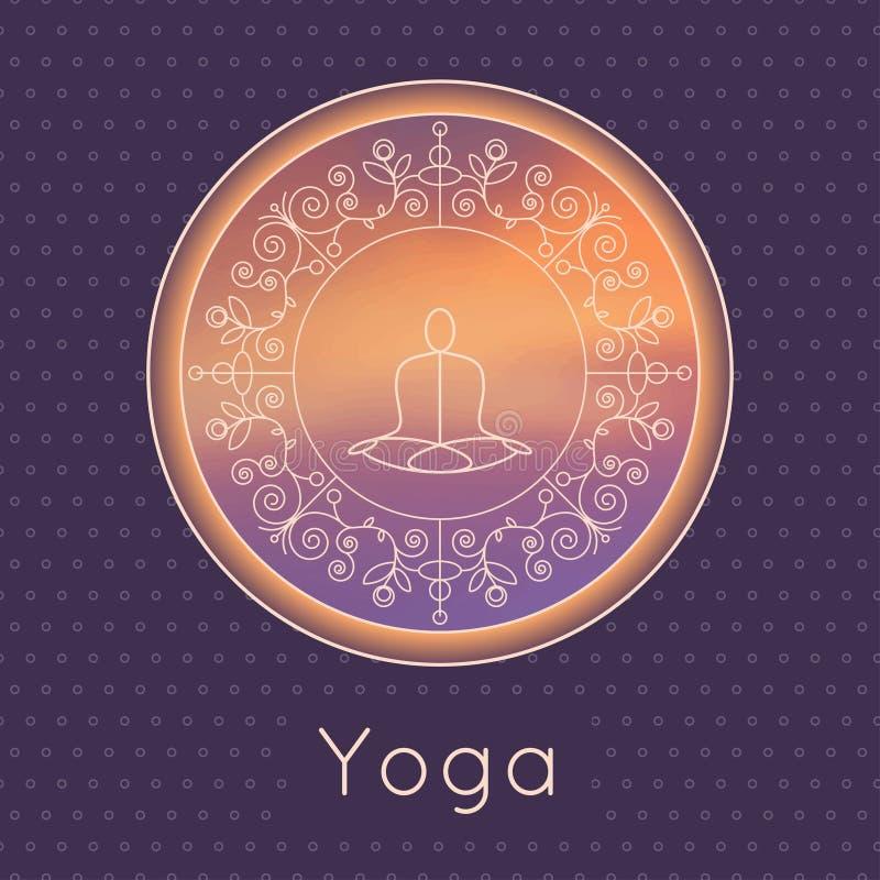 传染媒介瑜伽例证 与花饰和信奉瑜伽者剪影的瑜伽海报 瑜伽演播室、瑜伽中心或者分类的身分设计 皇族释放例证