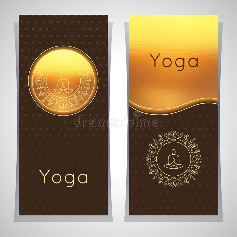 传染媒介瑜伽例证 与花饰和信奉瑜伽者剪影的瑜伽海报 瑜伽演播室、瑜伽中心或者c的身分设计 向量例证