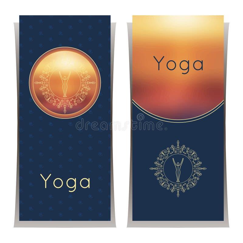 传染媒介瑜伽例证 与花饰和信奉瑜伽者剪影的瑜伽海报 瑜伽演播室、瑜伽中心或者c的身分设计 库存例证