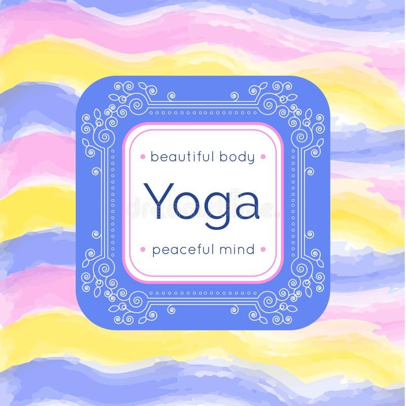 传染媒介瑜伽例证 与花饰和您的文本的瑜伽海报 瑜伽演播室、瑜伽中心或者类的身分设计 T 皇族释放例证