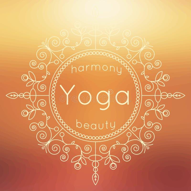 传染媒介瑜伽例证 与花饰和被弄脏的背景的瑜伽海报 瑜伽演播室、瑜伽中心或者c的身分设计 向量例证