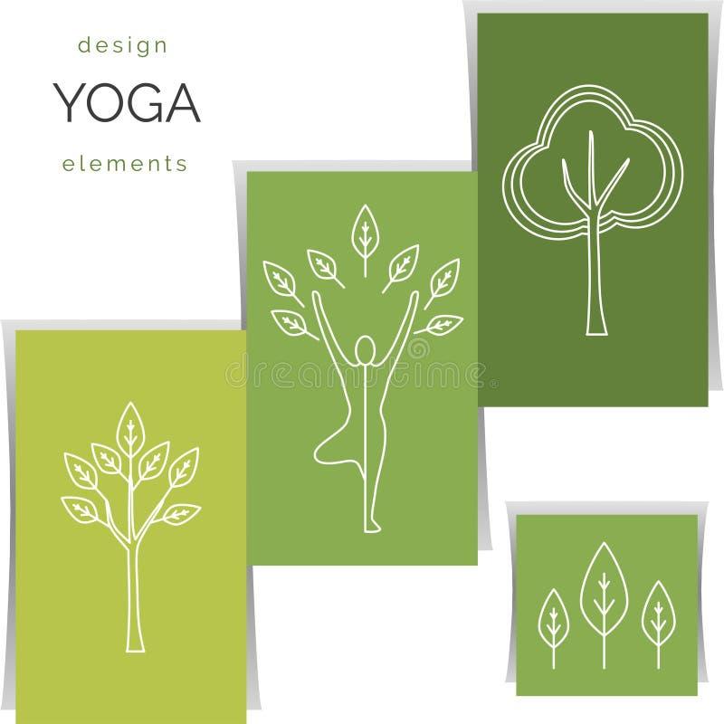 传染媒介瑜伽例证 套线性瑜伽象,在概述样式的瑜伽商标 向量例证