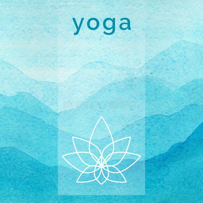 传染媒介瑜伽例证 瑜伽类的海报与自然背景 库存例证