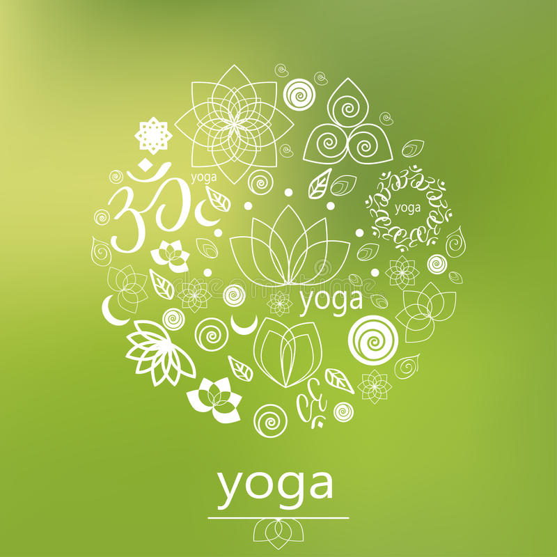 传染媒介瑜伽商标以绿色 免版税库存图片