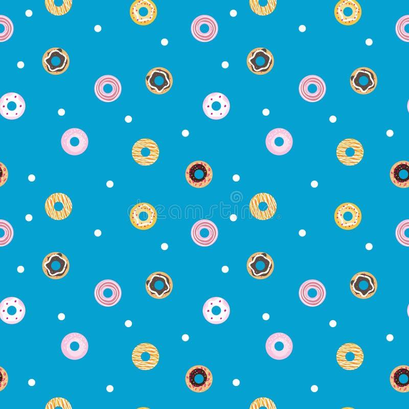 传染媒介甜油炸圈饼无缝的样式 酥皮点心 皇族释放例证