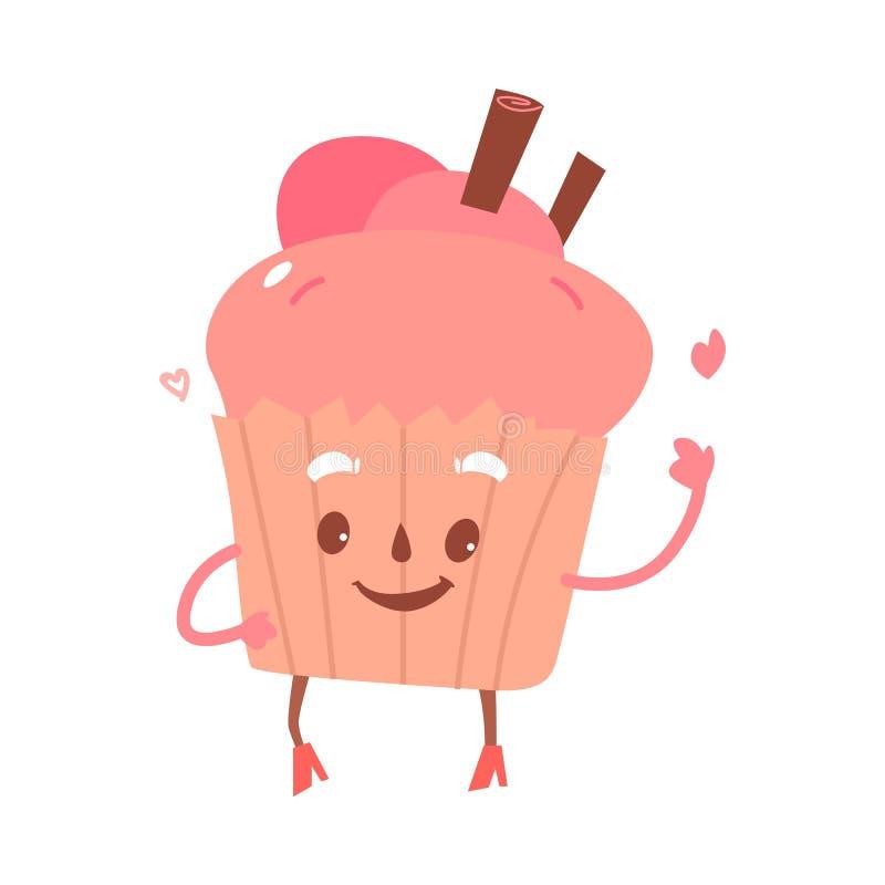 传染媒介甜点被赋予人性的杯形蛋糕,果仁巧克力字符 皇族释放例证