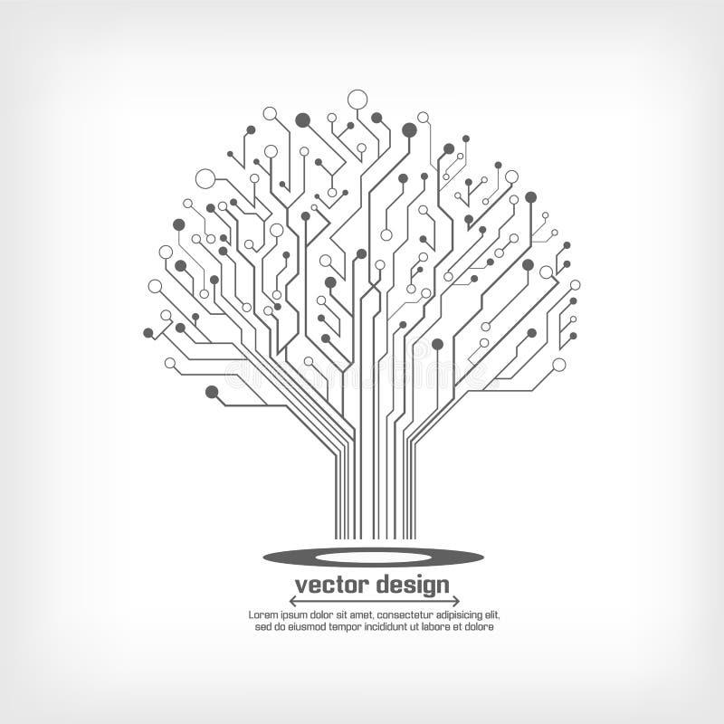 传染媒介电路板电子树 库存例证