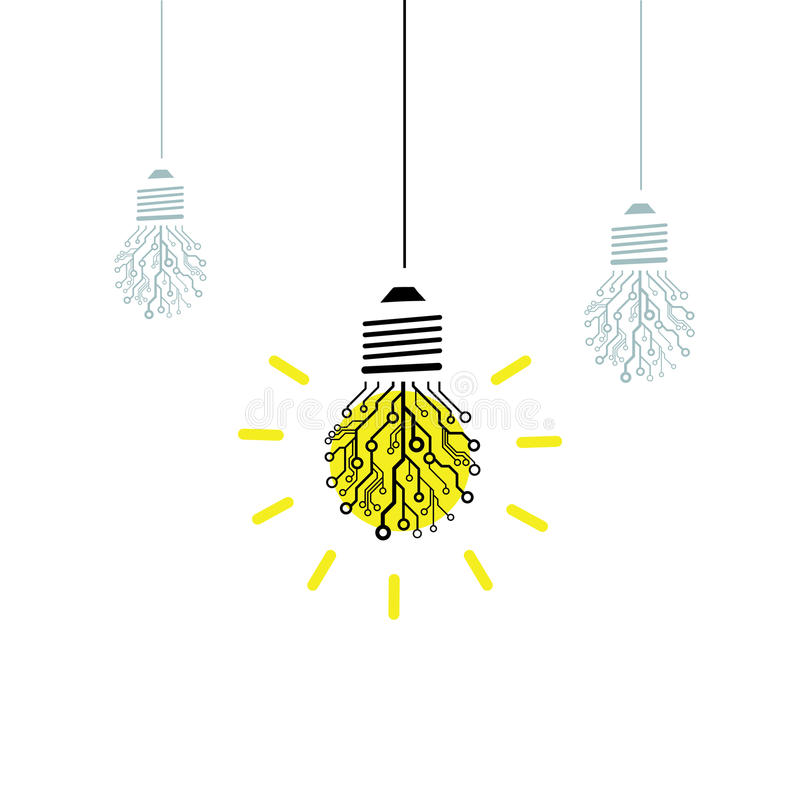 传染媒介电路板电灯泡 库存例证