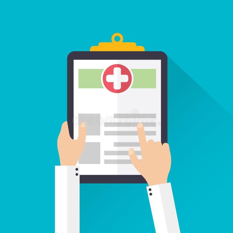 传染媒介医疗保健剪贴板平的象 库存例证