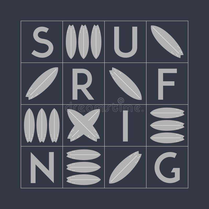 传染媒介黑白冲浪的T恤杉印刷品设计 海浪背景 库存例证