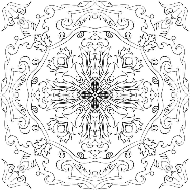 传染媒介黑白古色古香的样式设计 成人的彩图与花卉和种族装饰品 库存例证