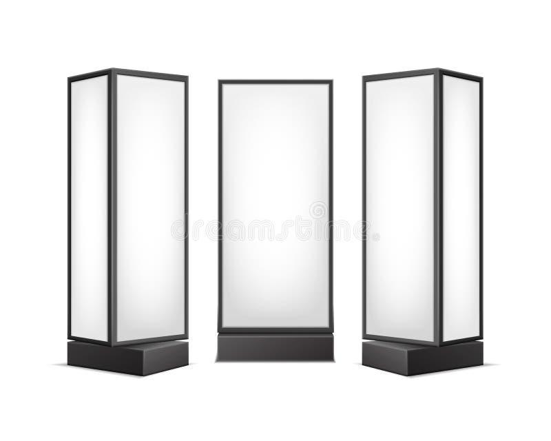 传染媒介黑白色光亮长方形海报站立室内广告的柱子图片