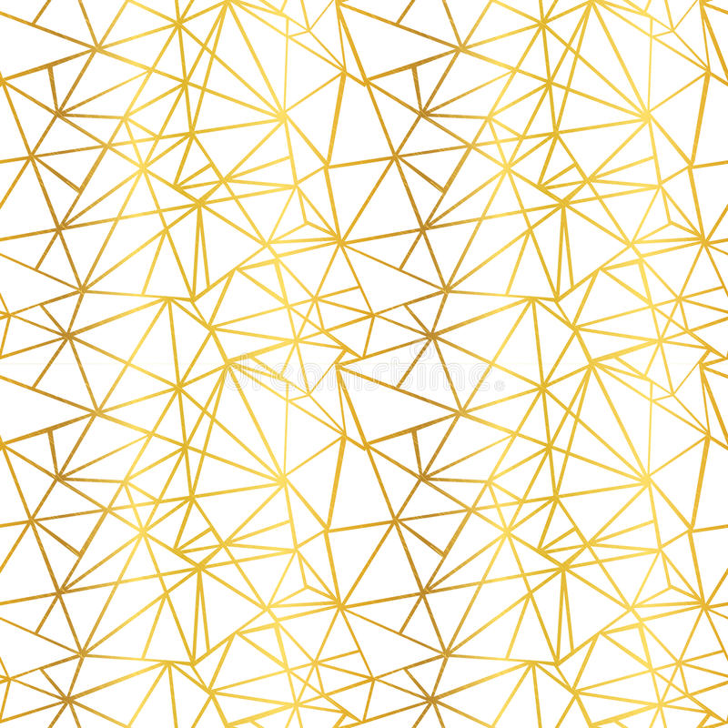 传染媒介白色和金箔导线几何马赛克三角重复无缝的样式背景 能为织品使用 库存例证