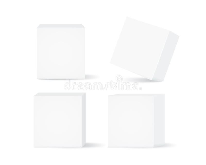 传染媒介白色箱子汇集 库存例证