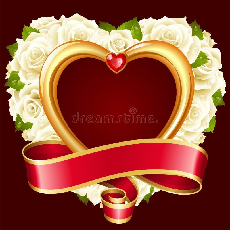 传染媒介白色以心脏的形式玫瑰框架 皇族释放例证