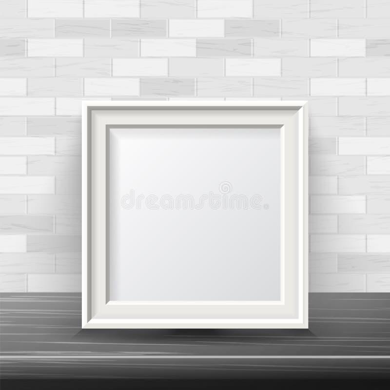 传染媒介的垂直的方形的框架嘲笑 有益于您的陈列设计 现实阴影 背景砖墙白色 库存例证