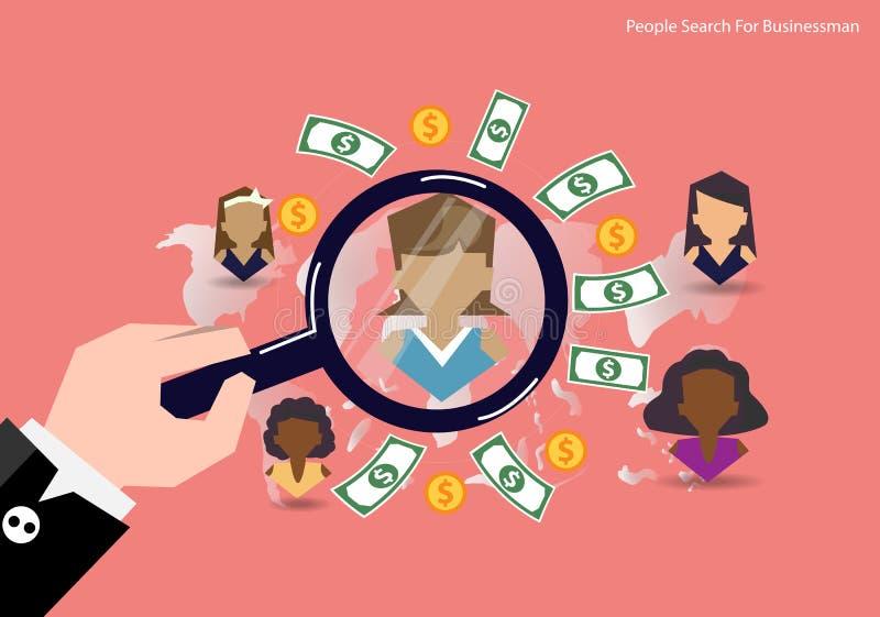 传染媒介研究人被找到的财务的人概念 平的设计 库存例证