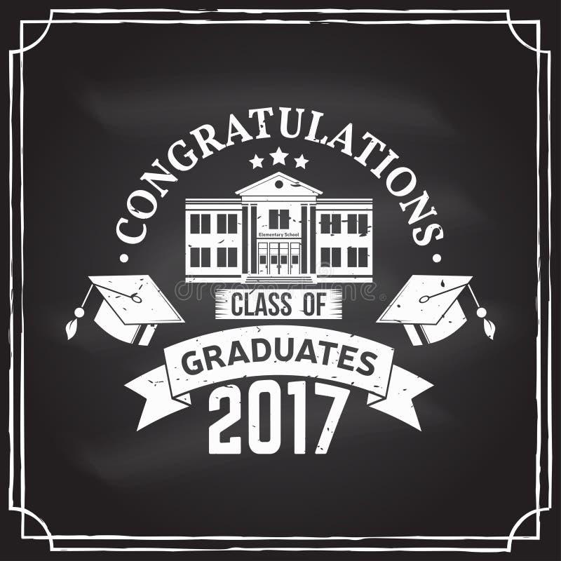 传染媒介祝贺2017徽章毕业生类  向量例证