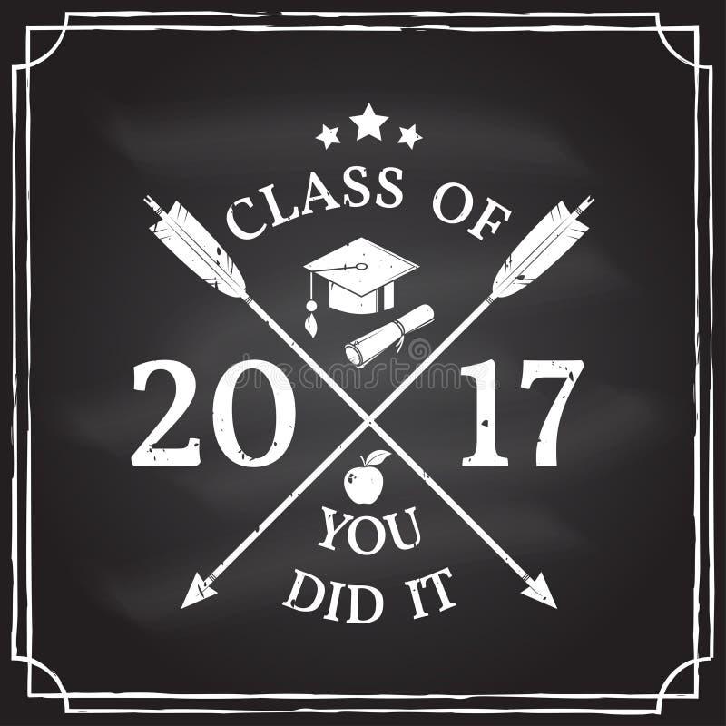 传染媒介祝贺2017徽章毕业生类  库存例证
