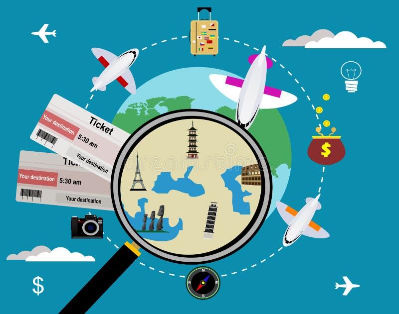 传染媒介票和地球,旅行概念 向量例证
