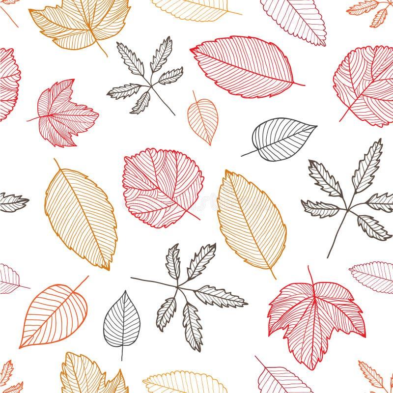 传染媒介秋天五颜六色的手拉的叶子 库存例证