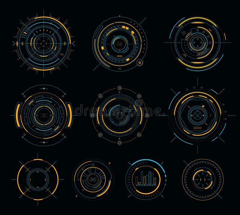 传染媒介科学幻想小说显示圆元素, HUD未来派用户界面 向量例证