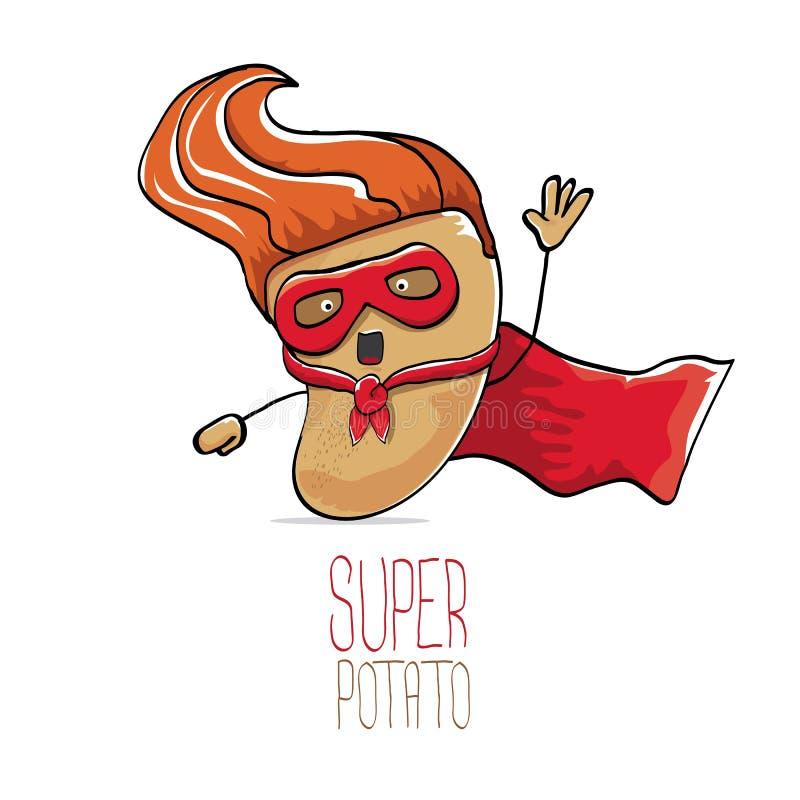 传染媒介滑稽的动画片逗人喜爱的棕色超级土豆 皇族释放例证