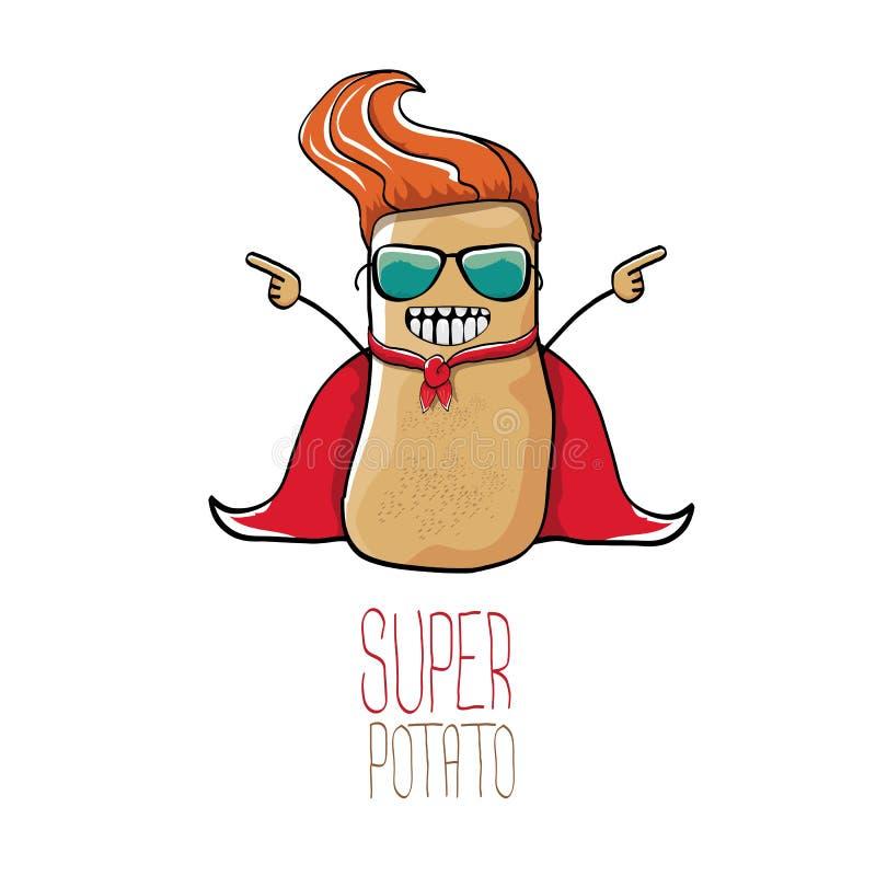传染媒介滑稽的动画片逗人喜爱的棕色超级土豆 库存例证