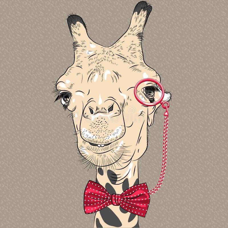 传染媒介滑稽的长颈鹿行家特写镜头画象  向量例证