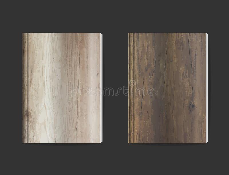 传染媒介空白的书套设计有木纹理背景 库存例证