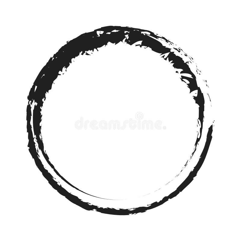 传染媒介黑画笔圈子冲程 抽象日本式手拉的贷方圈子 皇族释放例证