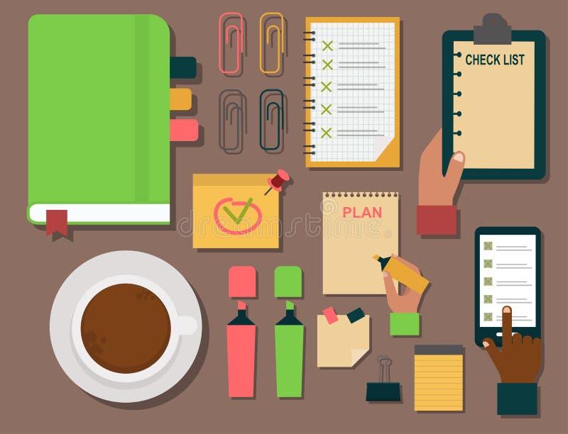 传染媒介笔记本议程企业笔记计划工作提示计划者组织者例证 向量例证