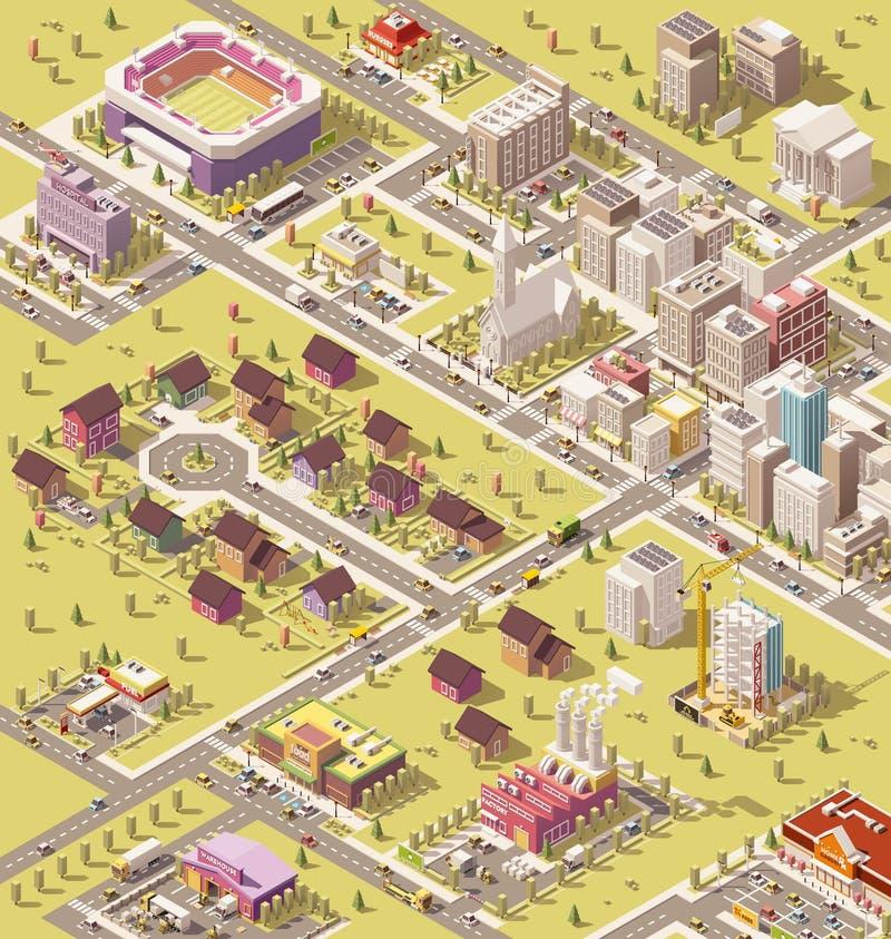 传染媒介等量低多城市 库存例证